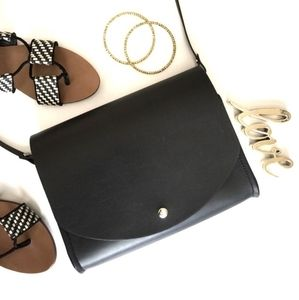 Black faux leather structured crossbow bag (NWO